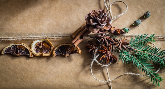Beautifully packed with gift on wooden wall