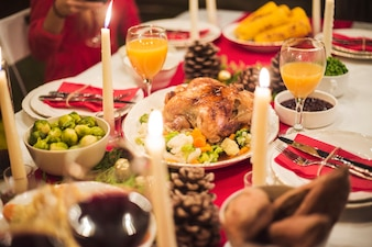 Beautifully served table for Christmas dinner