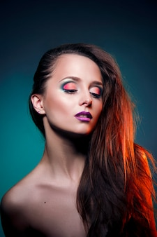 Beauty art makeup on the face of a woman