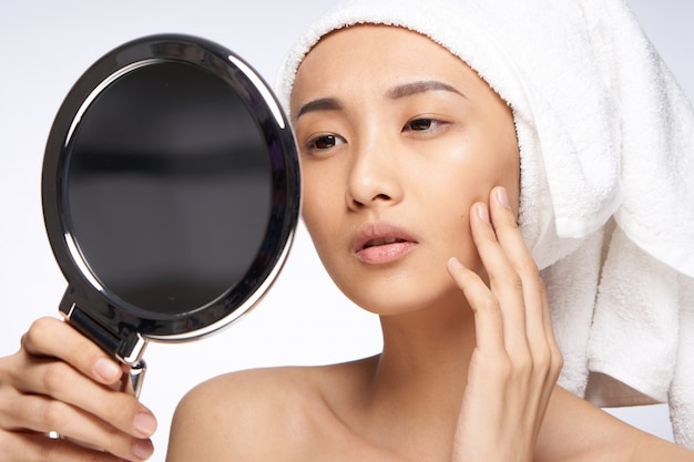 아름다움 아시아 여자 피부 관리, 아름다움