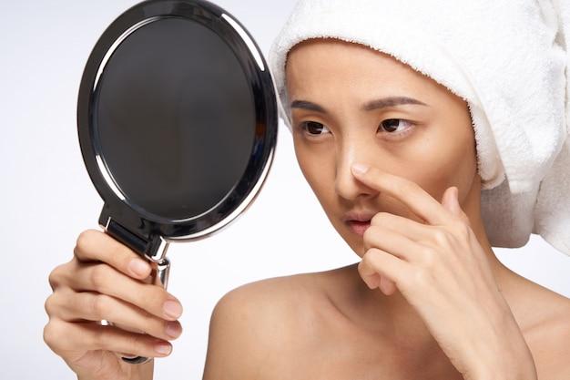 Красота азиатская женщина уход за кожей, красота