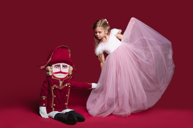 Beauty ballerina with nutcracker