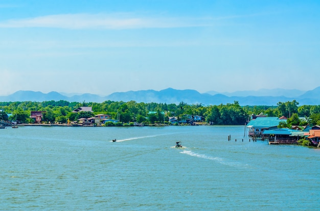 Beauty of bangtaboon bay and the houses in phetchaburi province thailand