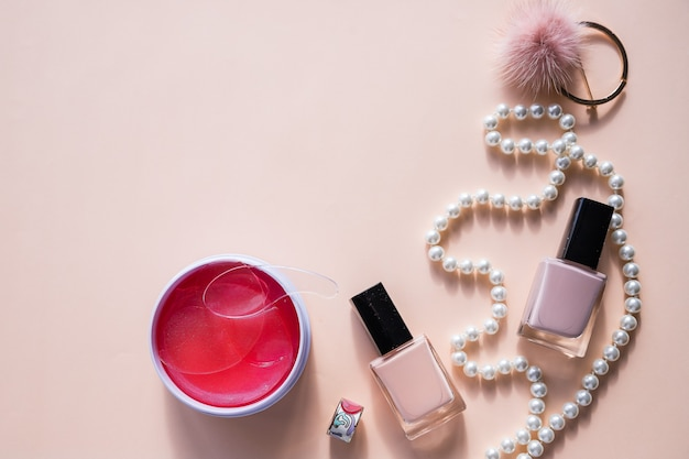 Beauty blog concept flat lay.