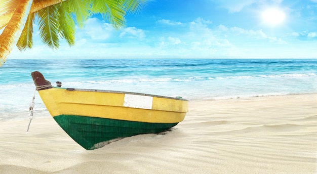 The beauty of the blue sea and the beautiful sky and the boat by the beach in summer