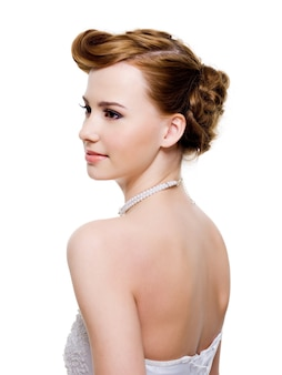 Beauty bride with style wedding hairstyle - on white