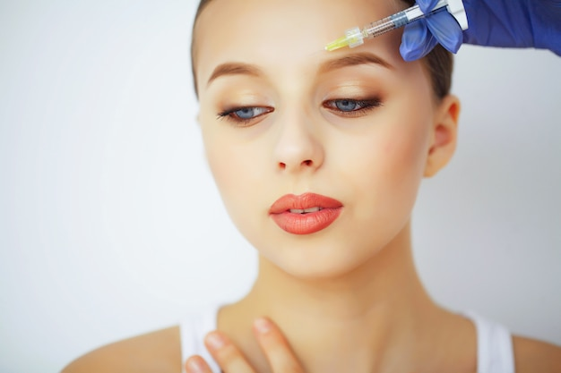 Beauty and care. beauty salon. a woman with pure skin. skin care