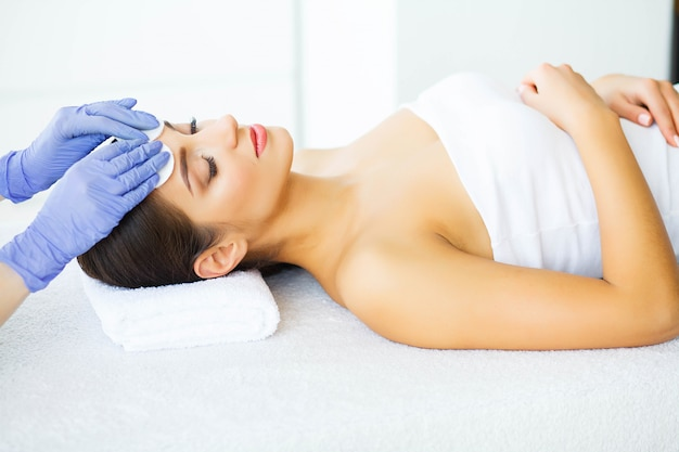 Beauty and care. young girl with clean skin in spa salon. woman relaxing and lying with closed eyes. high resolution