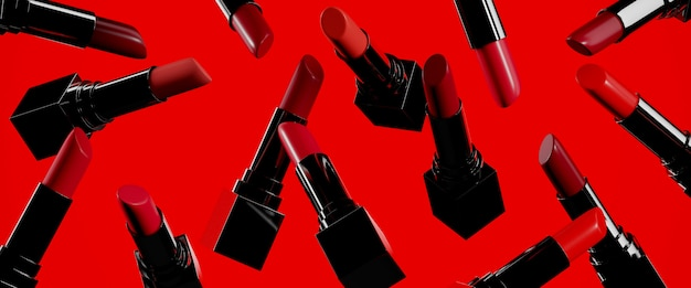 Beauty  . closeup red color lipsticks on red . 3d rendering illustration.
