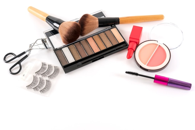 Beauty concept: cosmetic products for makeup