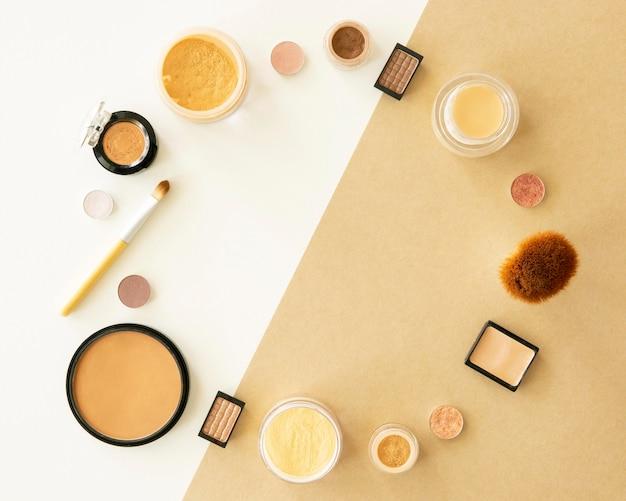 Forma del cerchio di prodotti cosmetici di bellezza