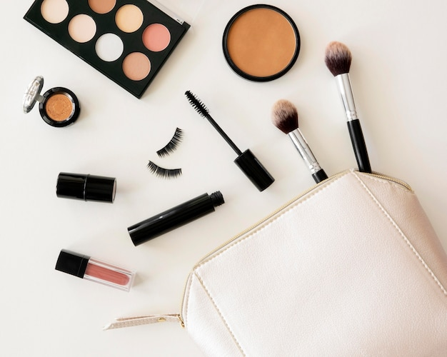 Beauty cosmetics pack in bag