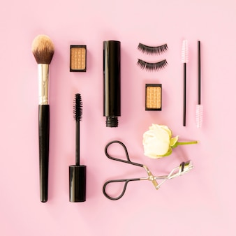 Beauty cosmetics pack on desk