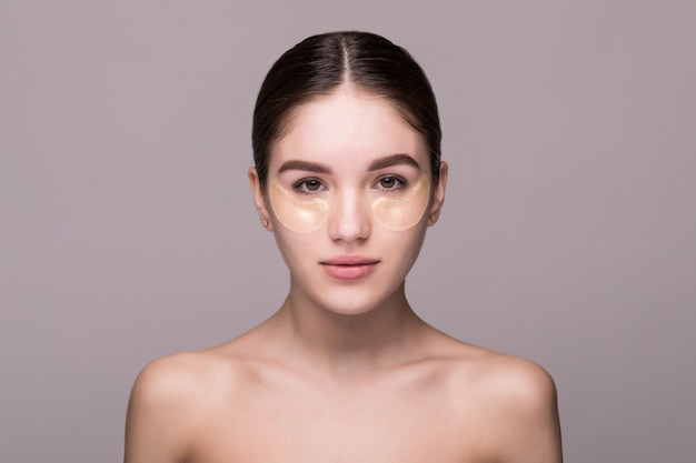 Beauty face of beautiful woman with clean fresh skin isolated