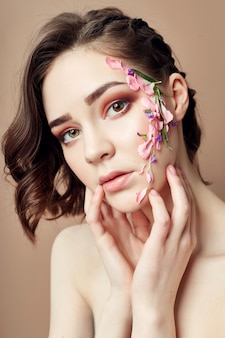 Beauty face makeup, cosmetics flower petals