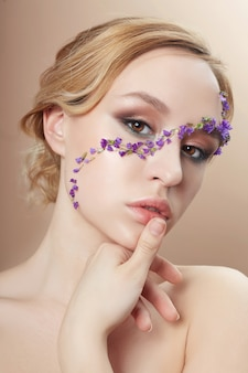 Beauty face professional makeup, cosmetics flower