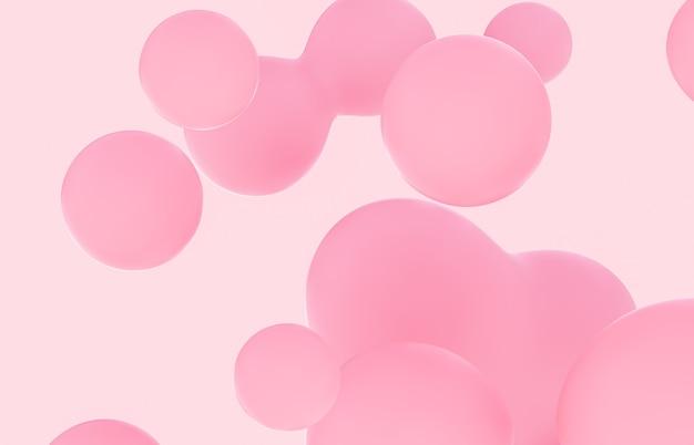 ピンクの液体の塊の背景のシャボン玉と美容ファッションの背景