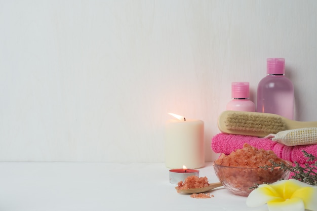 Beauty and fashion concept with spa set