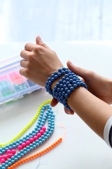 Beauty, fashion. lovely, blue bracelet