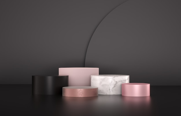 Beauty fashion luxury podium backdrop for product display. minimalist black, marble and pink background. 3d render.