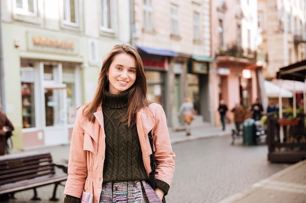 Beauty fashion model in coat.