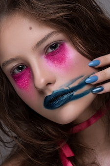 Beauty fashion model girl creative art makeup