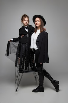Beauty fashion mom and daughter