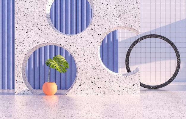 幾何学的な形と熱帯の葉を持つ美容ファッションの表彰台。