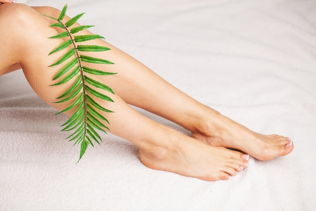 Beauty female slim legs after spa therapy on white background.