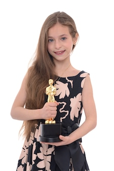 Beauty girl with trophy