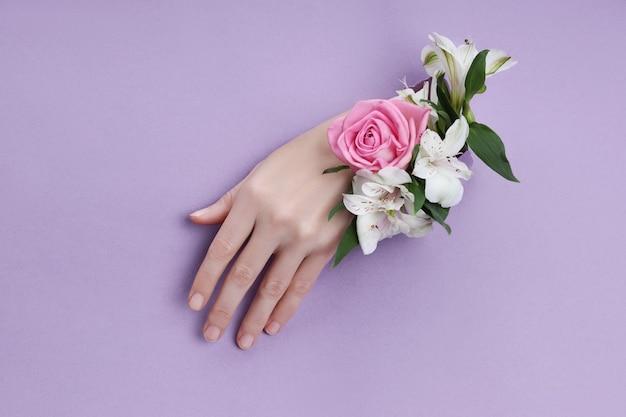 보라색 종이 배경에 구멍에 꽃과 아름다움 손. 네이처핸드화장품, 천연꽃추출물, 피부보습 및 부드러움