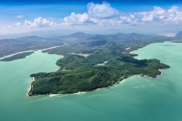 바다의 아름다움 섬, 비행기에서 보기