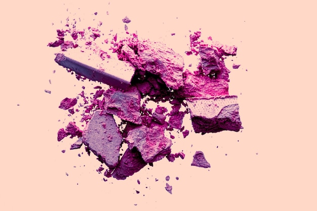 Beauty and makeup flatlay design mineral organic eyeshadow as powder cosmetics blush or crushed cosm...