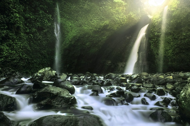 Beauty morning in waterfall palak siring kemumu north bengkulu indonesia