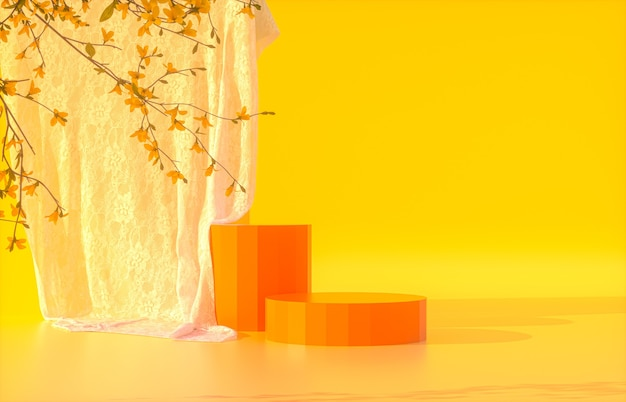 Beauty orange podium with orange backdrop for product display with spring flowers 3d rendering
