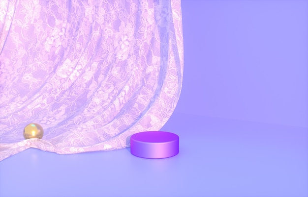Beauty podium for product display with purple lace curtain 3d rendering