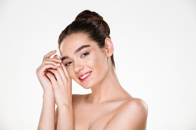 Beauty portrait of adorable half-naked woman with perfect skin looking