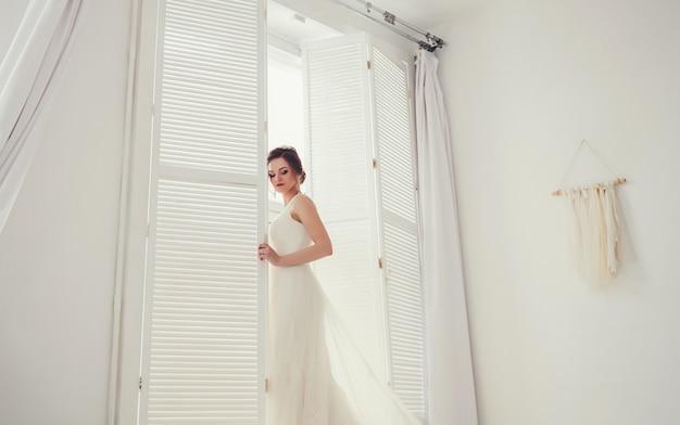Beauty portrait of bride wearing fashion wedding