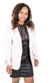 Beauty portrait of charming woman african american wearing black dress pink jacket sexy lingerie standing isolated white background