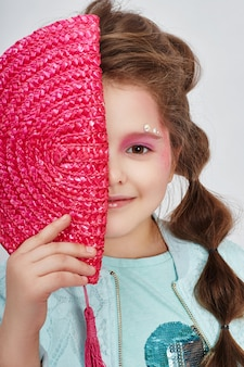 Beauty portrait girl natural clean skin, cosmetics and makeup for children