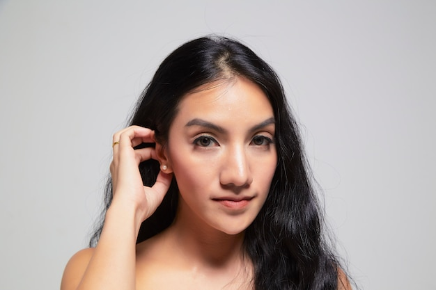 Beauty portrait of girl with perfect  skin