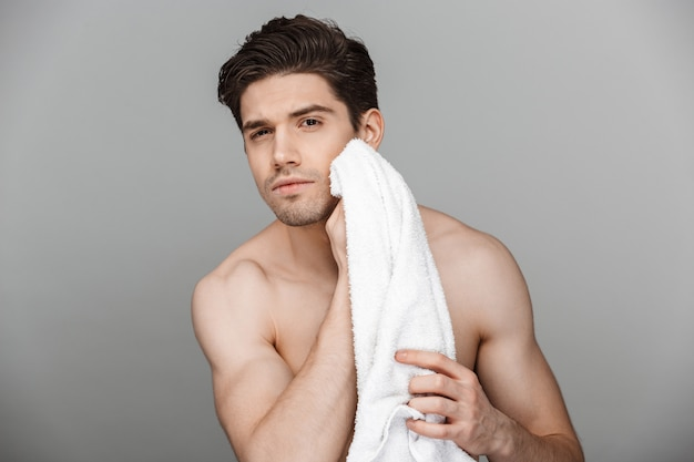 Beauty portrait of half naked handsome young man