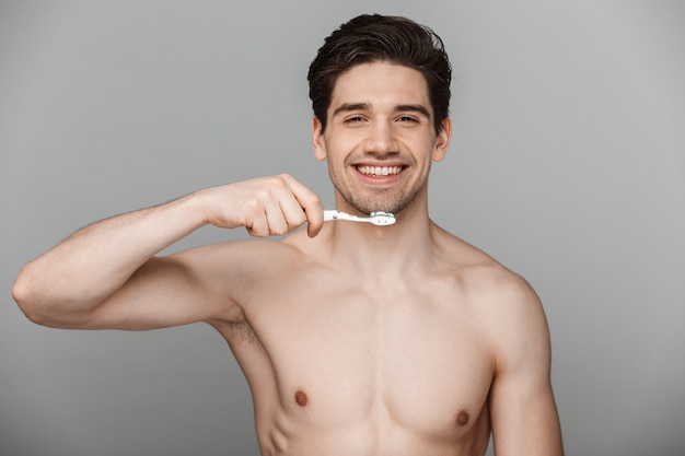 Beauty portrait of half naked happy young man