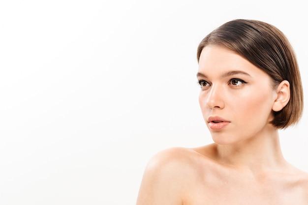 Beauty portrait of a half naked woman