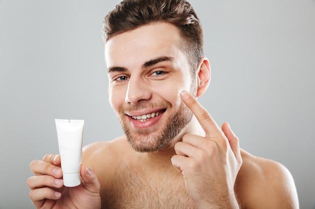 Beauty portrait of a handsome half naked man