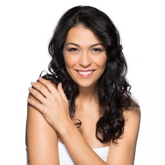 笑顔の女性の美しさの肖像画 Premium写真