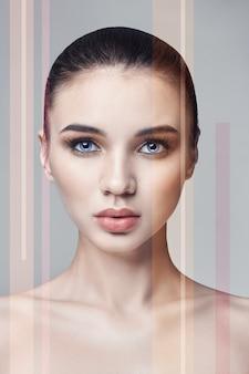 노이즈 스트립, 메이크업 페이셜 케어, 깨끗한 아름다운 피부를 가진 여성의 아름다움 초상화. 자연의 아름다움 소녀, 근접 촬영 초상화입니다. 보습스파 스킨케어, 깨끗한 얼굴용 화장품