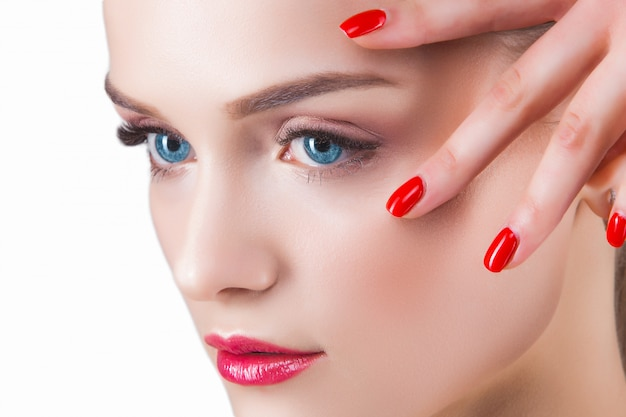 Beauty portrait. young beautiful blond woman  attractive female on white  lady demonstrates makeup