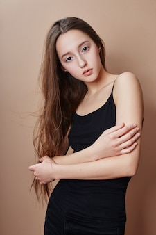 Beauty portrait young girl beautiful long hair