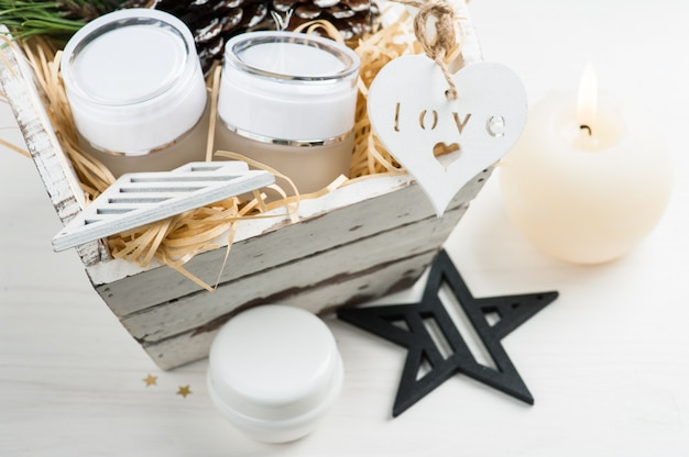Beauty products and cosmetics with christmas decoration